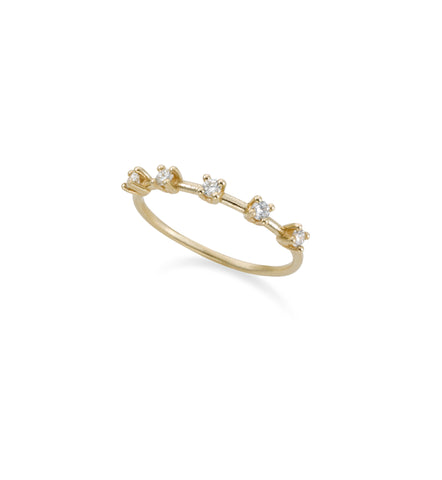 14k gold ring with 5 spaced diamonds