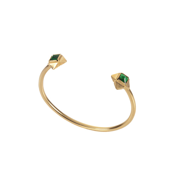 gold plated open bracelet with green stones