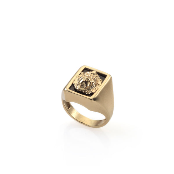 14k gold signet lion ring
