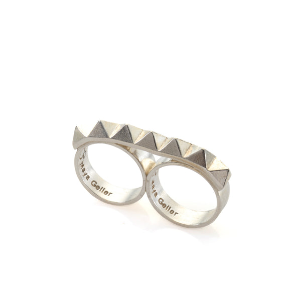 double silver studs ring