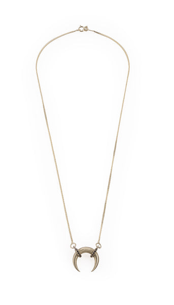 14k gold moon necklace with black diamonds