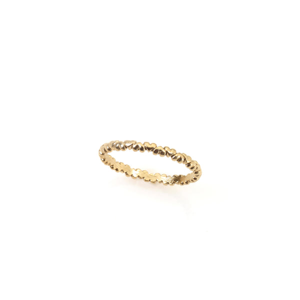 14k gold tiny hearts ring