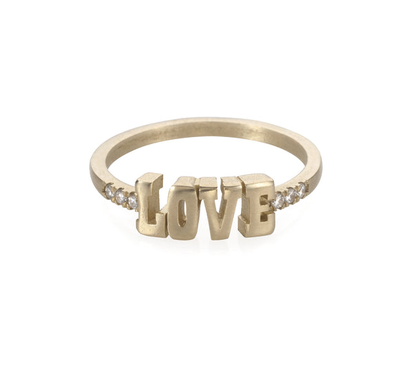 14k gold LOVE ring with 6*1p diamonds