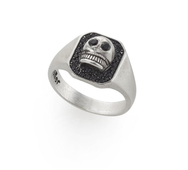 silver small skull signet ring with black stones