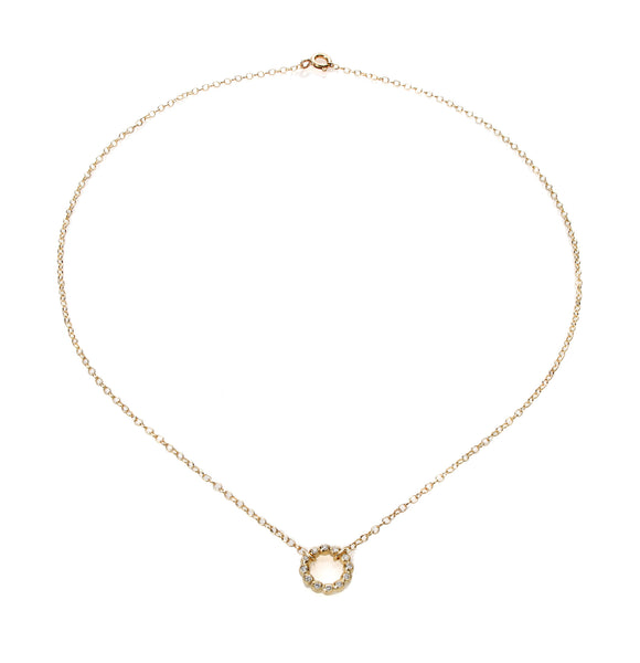 14k gold circle necklace with diamonds
