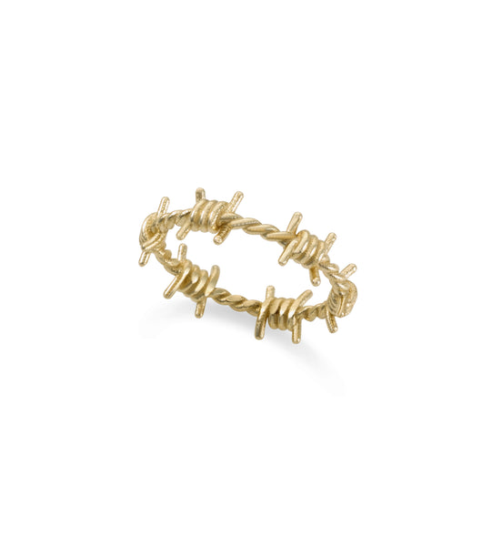 14k gold tiny barbed wire ring