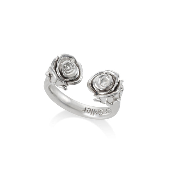 Open Silver Roses Ring