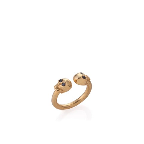 gold plated open ring with skulls