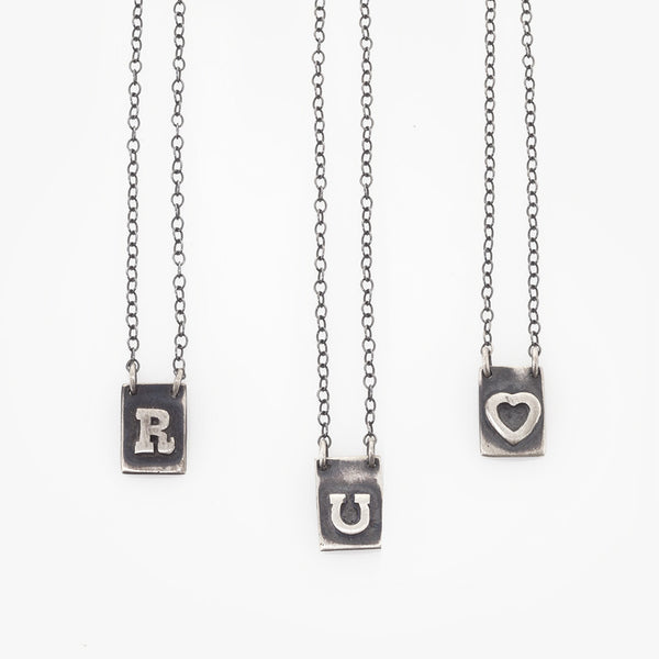 Silver letter/ ❤️ necklace (one item)