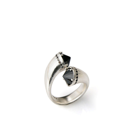 Open silver ring with black stones and small black stones