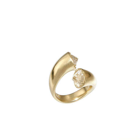 14k gold open ring with crystals