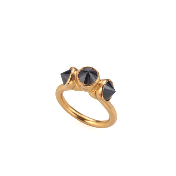 gold plated 3 black stones ring