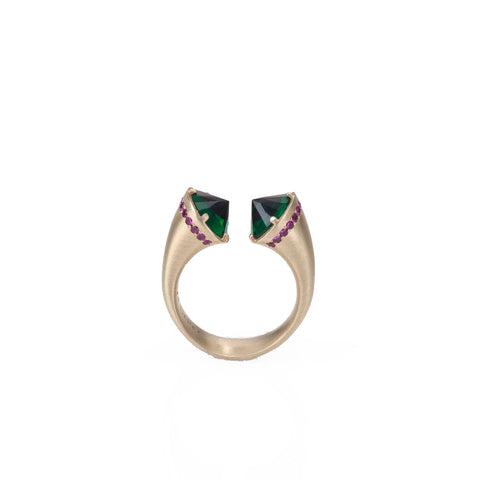 14k gold open ring with emerald and rubies