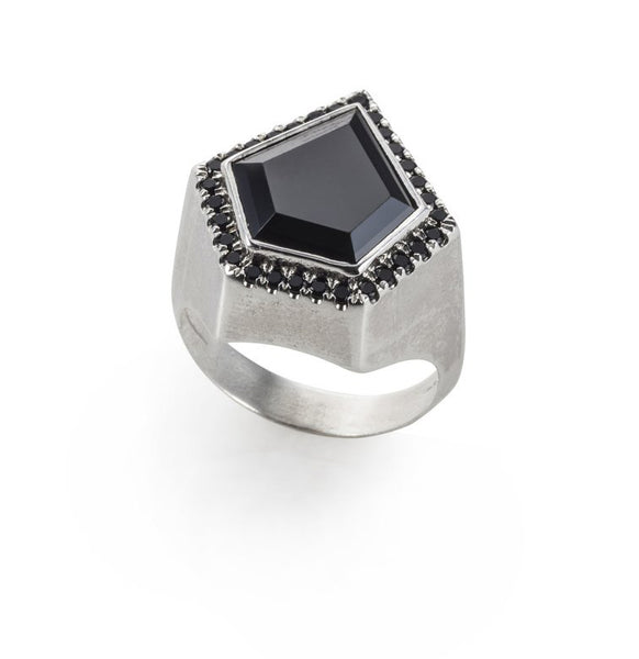 Silver Pentagon Set Signet Ring