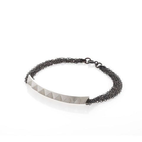 silver studs and chains bracelet