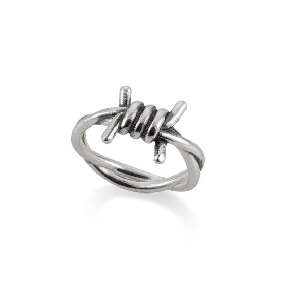 SILVER MID BARBED WIRE RING