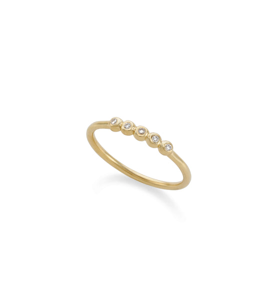 14k gold balls 5 diamonds ring