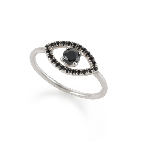 silver EYE ring with a black stone