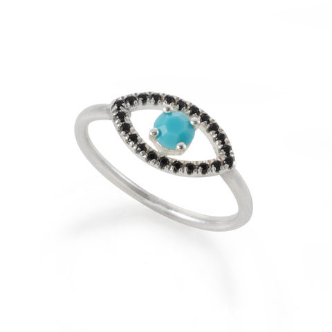 silver EYE ring with a blue stone