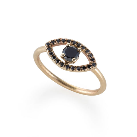 14k gold EYE ring with black diamonds