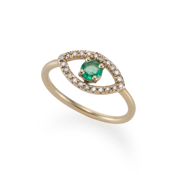 14k gold EYE ring with diamonds and emerald
