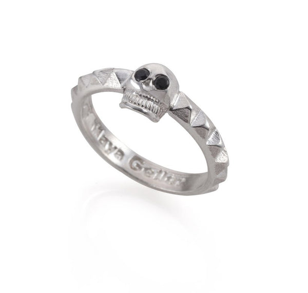 Silver skull and studs ring