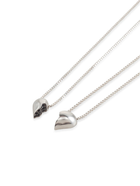 silver half small heart necklace with black stones