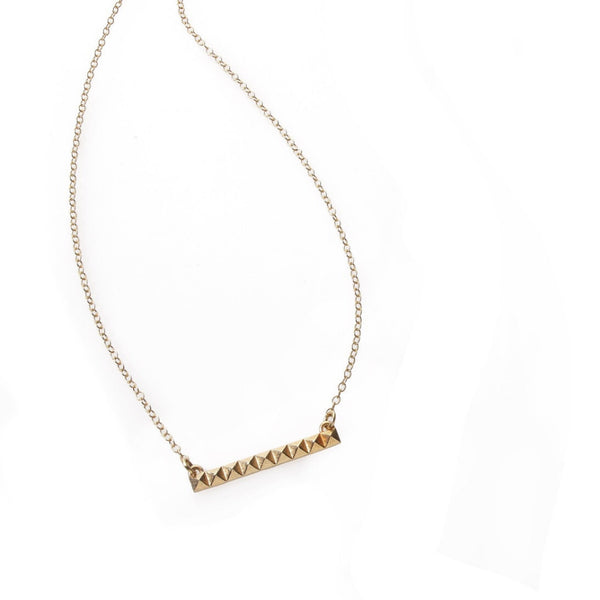 14k gold studs line necklace