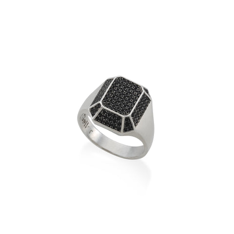 TOY small silver signet ring with black stones