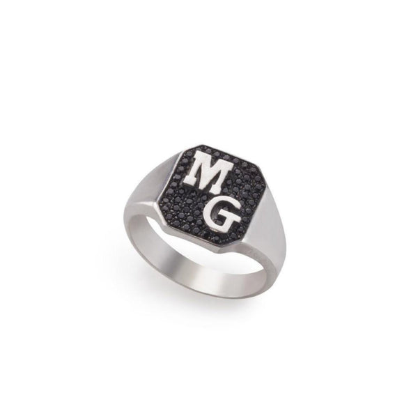 silver oktagon ring with two letters