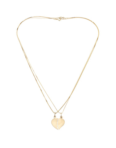 14k gold Half heart necklace - two necklaces