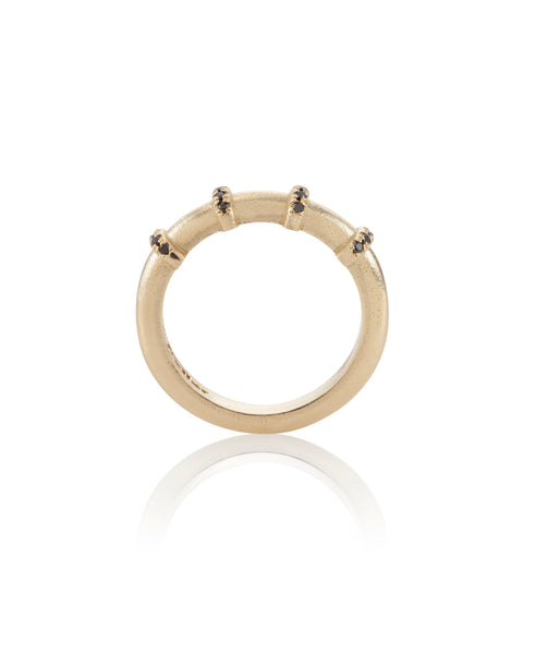 14k yellow gold 4 hoops set Black Diamonds