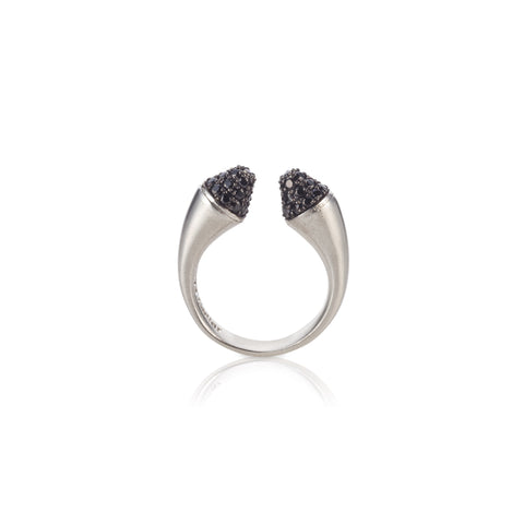 Open silver ring with black stones set ox