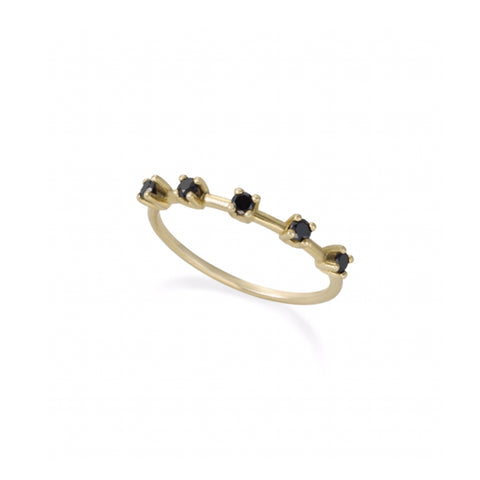 14k gold ring with 5 spaced black diamonds