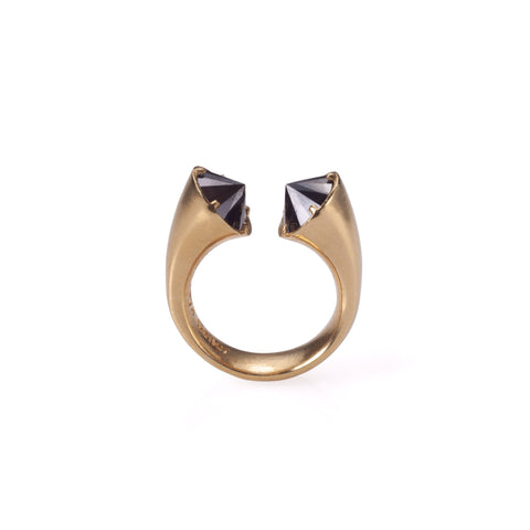 Gold plated open ring with black stones