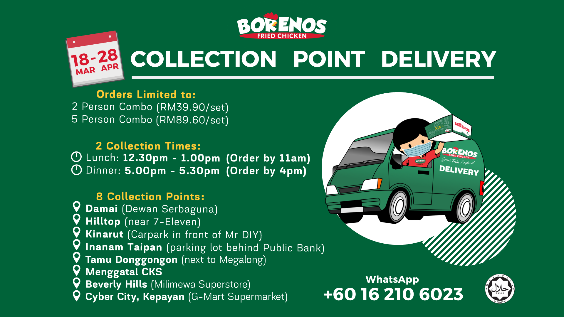 Collection Point Delivery to Sabah Districts during MCO - Borenos Fried Chicken
