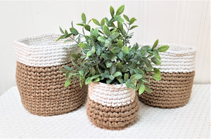 Tan and Cream Woven Baskets