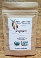 Ginger Organic Tea Freshly Sealed, Reusuable Pouch