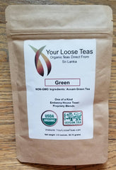 Organic Loose Leaf Green Tea Freshly Sealed, Reusuable Pouch