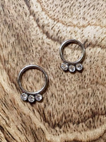 3 Jewel Hinged Segment Clicker Ring