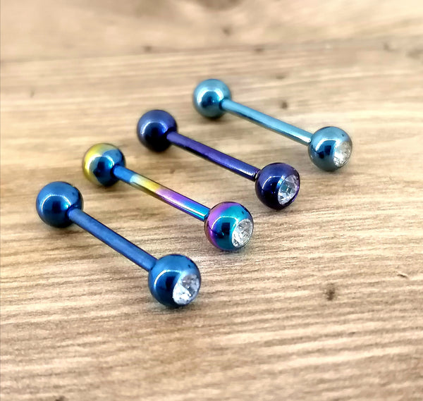 Anodised Titanium Gem Tongue Bars