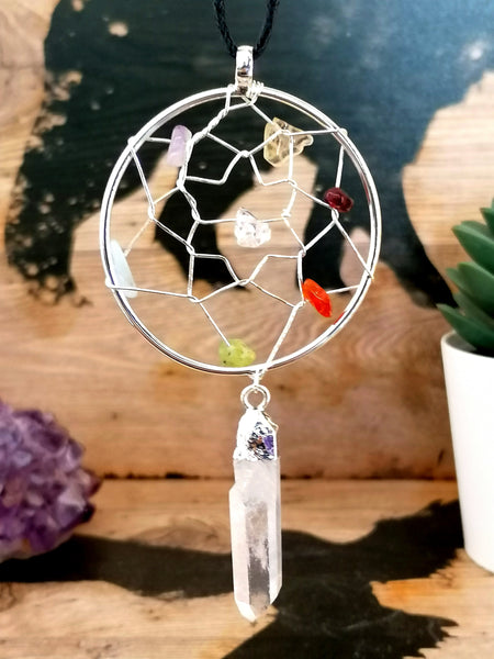 Silver Plated Mixed Gem and Crystal Quartz Dream Catcher