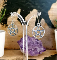 Sterling Silver Pentacle Dropper Earings