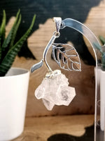 Silver Plated Crystal Quartz CLuster Flower Design Pendant