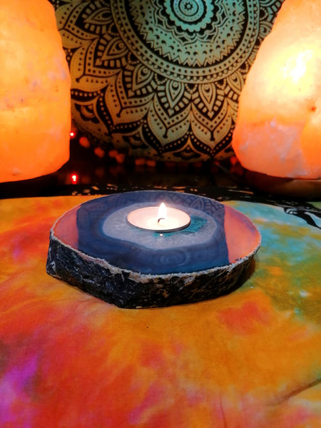 Agate Slice Tea light Holder