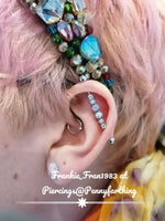 Surgical Steel Industrial / Scaffold Opal Style with Gem Barbell
