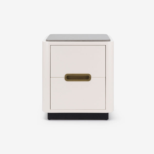 Bazaar, Bedside Table, Stone Top, Brass Detail, Lacquer, Contemporary Design