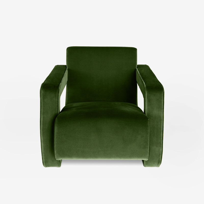 Bazaar, Velvet Armchair, Bold Contemporary Design, Gerrit Rietveld Inspired, Modern Interiors, Living Room