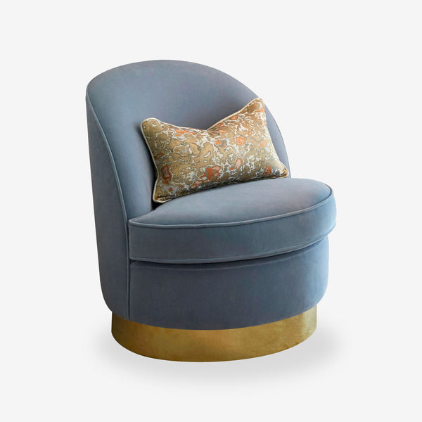 Bazaar, Velvet Armchair, Blue, Brass Base, Contemporary Interiors, Handmade in UK