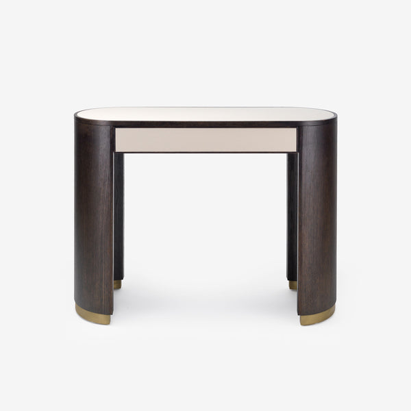 Bazaar, Dressing Table, Modern Minimalism, Luxury Furniture, Dar Wood, Leather Top, Brass Base